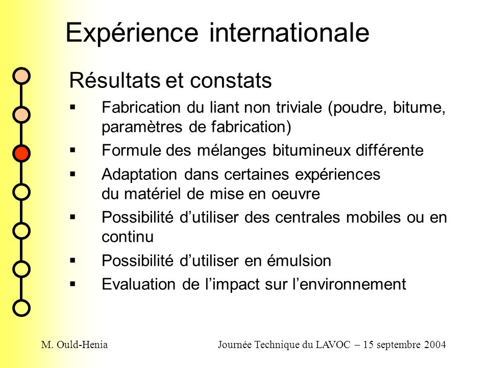 M. Ould-HeniaJournée Technique du LAVOC – 15 septembre 2004 Expérience internationale Résultats et constats Fabrication du liant non triviale (poudre,