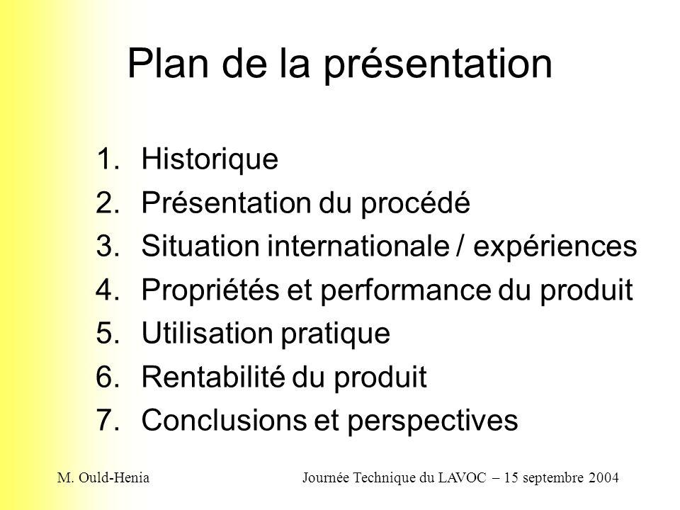 M. Ould-HeniaJournée Technique du LAVOC – 15 septembre 2004 Plan de la présentation 1.Historique 2.Présentation du procédé 3.Situation internationale