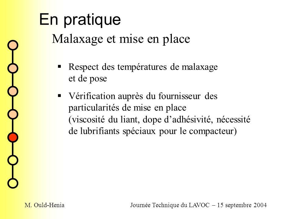 M. Ould-HeniaJournée Technique du LAVOC – 15 septembre 2004 En pratique Malaxage et mise en place Respect des températures de malaxage et de pose Véri