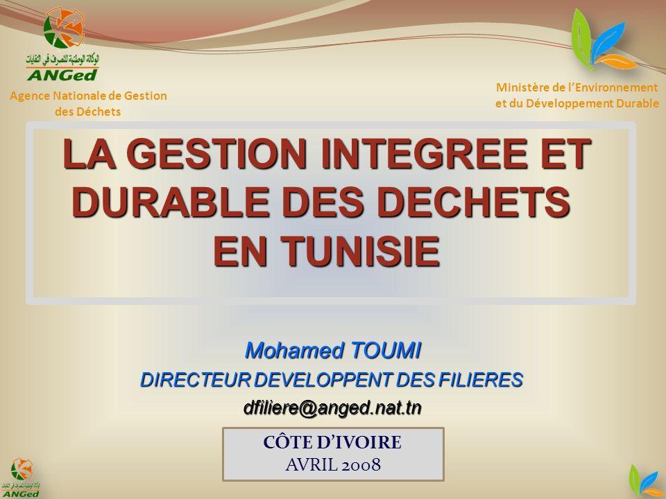 Ministère de lEnvironnement et du Développement Durable LA GESTION INTEGREE ET DURABLE DES DECHETS EN TUNISIE Agence Nationale de Gestion des Déchets