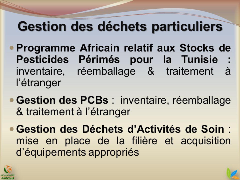 Programme Africain relatif aux Stocks de Pesticides Périmés pour la Tunisie : inventaire, réemballage & traitement à létranger Gestion des PCBs : inve