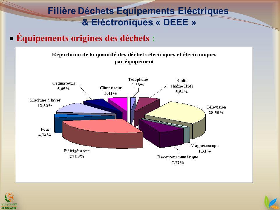 Équipements origines des déchets : Filière Déchets Equipements Eléctriques & Eléctroniques « DEEE »