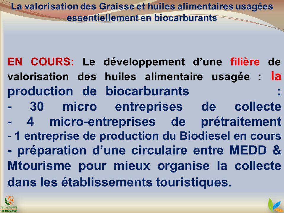 EN COURS: Le développement dune filière de valorisation des huiles alimentaire usagée : la production de biocarburants : - 30 micro entreprises de col