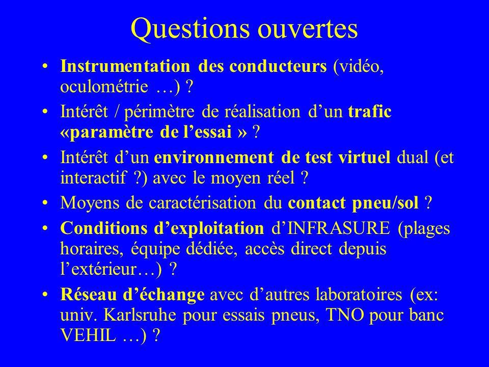 Questions ouvertes Instrumentation des conducteurs (vidéo, oculométrie …) ? Intérêt / périmètre de réalisation dun trafic «paramètre de lessai » ? Int