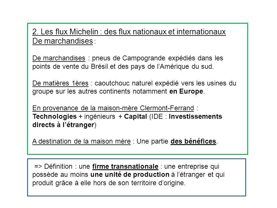 2. Les flux Michelin : des flux nationaux et internationaux De marchandises : De marchandises : pneus de Campogrande expédiés dans les points de vente
