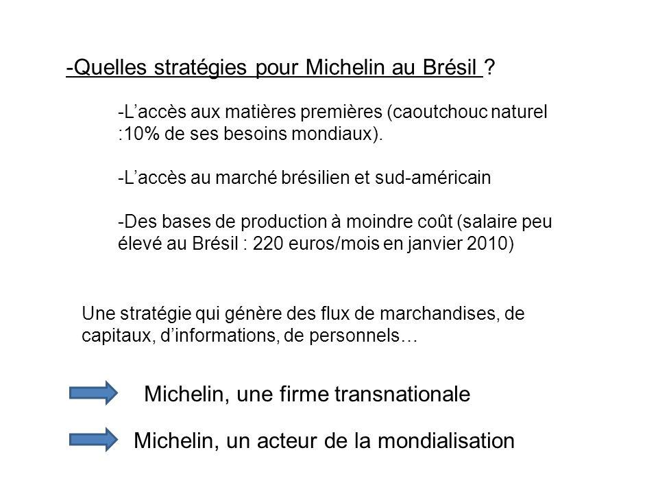 -Quelles stratégies pour Michelin au Brésil ? -Laccès aux matières premières (caoutchouc naturel :10% de ses besoins mondiaux). -Laccès au marché brés