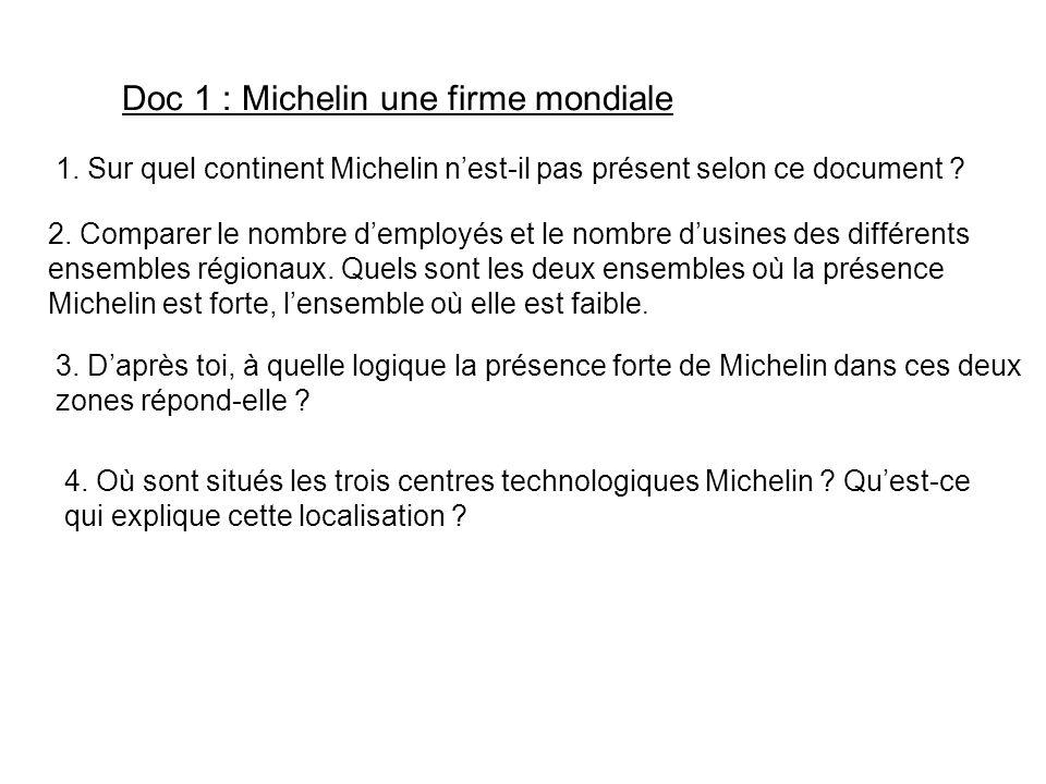 Doc 1 : Michelin une firme mondiale 2. Comparer le nombre demployés et le nombre dusines des différents ensembles régionaux. Quels sont les deux ensem