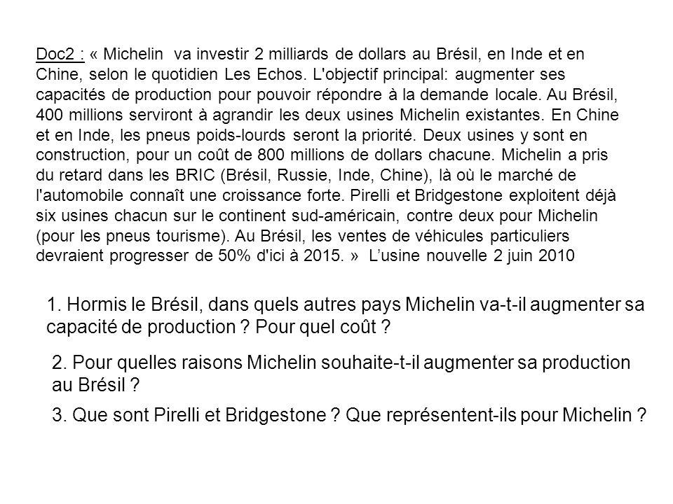 Doc2 : « Michelin va investir 2 milliards de dollars au Brésil, en Inde et en Chine, selon le quotidien Les Echos. L'objectif principal: augmenter ses
