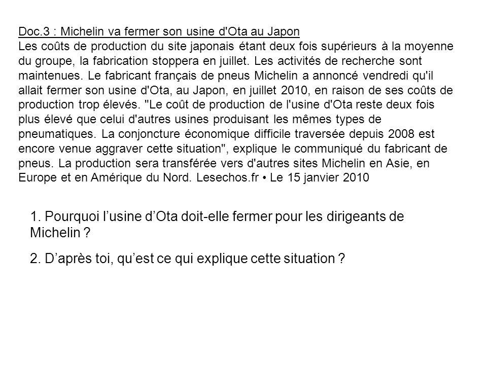 Doc.3 : Michelin va fermer son usine d'Ota au Japon Les coûts de production du site japonais étant deux fois supérieurs à la moyenne du groupe, la fab