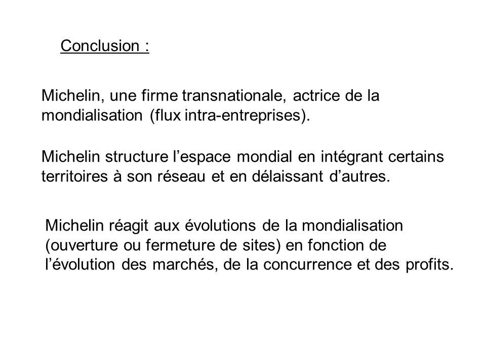 Conclusion : Michelin, une firme transnationale, actrice de la mondialisation (flux intra-entreprises). Michelin structure lespace mondial en intégran