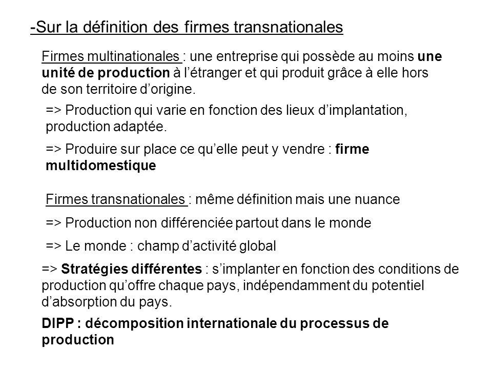 -Sur la définition des firmes transnationales Firmes multinationales : une entreprise qui possède au moins une unité de production à létranger et qui