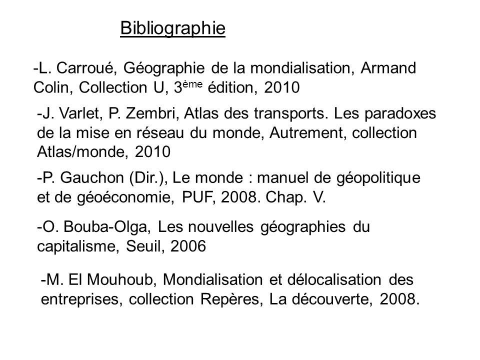 Bibliographie -J. Varlet, P. Zembri, Atlas des transports. Les paradoxes de la mise en réseau du monde, Autrement, collection Atlas/monde, 2010 -L. Ca