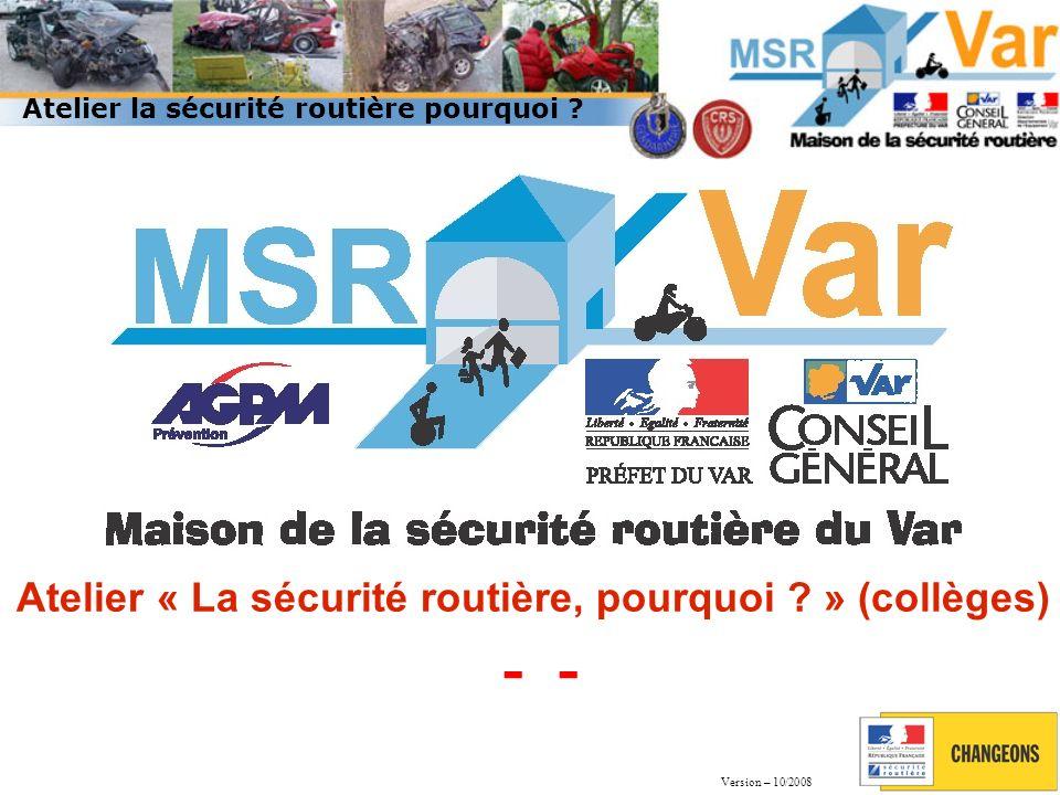 60 437 accidents corporels en métropole - 7,1 % (65 024 en 2011) Accidents 2012 en France 3 653 tués * - 7,8% (3 963 en 2011) dont 27 142 blessés hospitalisés + de 24h Source : ONISR - bilan 2012 – Données brutes.
