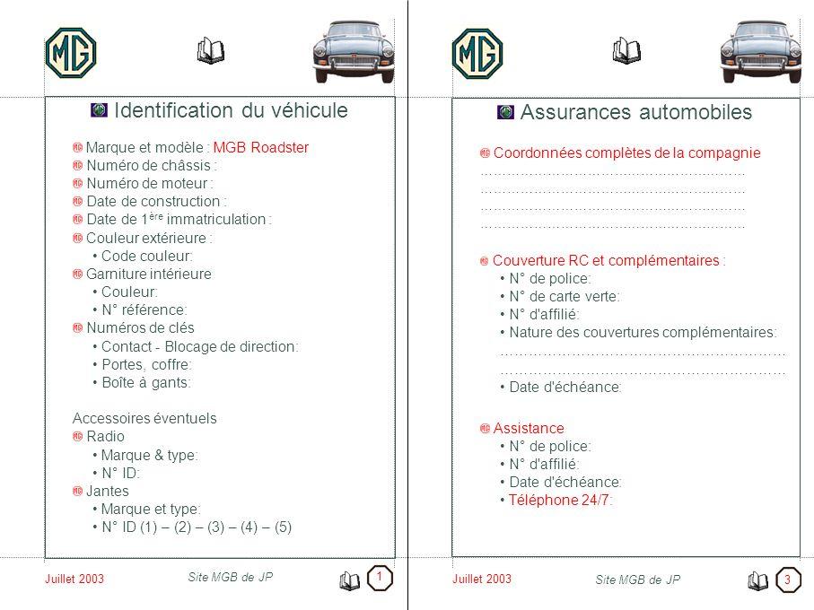 Juillet 2003 Site MGB de JP Juillet 2003 Site MGB de JP Identification du véhicule Marque et modèle : MGB Roadster Numéro de châssis : Numéro de moteu