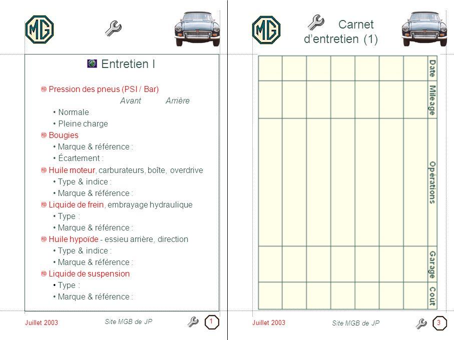 Juillet 2003 Site MGB de JP Juillet 2003 Site MGB de JP Carnet dentretien (1) Entretien I Pression des pneus (PSI / Bar) AvantArrière Normale Pleine c