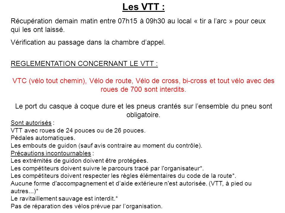 Les VTT : Récupération demain matin entre 07h15 à 09h30 au local « tir a larc » pour ceux qui les ont laissé. Vérification au passage dans la chambre