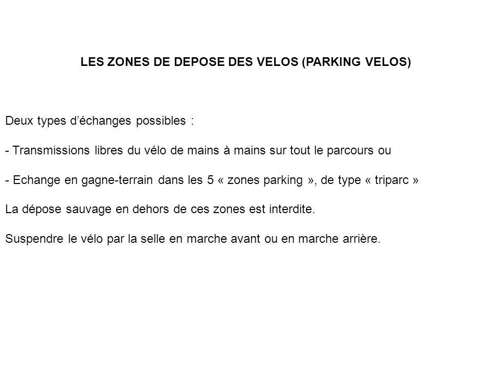 LES ZONES DE DEPOSE DES VELOS (PARKING VELOS) Deux types déchanges possibles : - Transmissions libres du vélo de mains à mains sur tout le parcours ou - Echange en gagne-terrain dans les 5 « zones parking », de type « triparc » La dépose sauvage en dehors de ces zones est interdite.