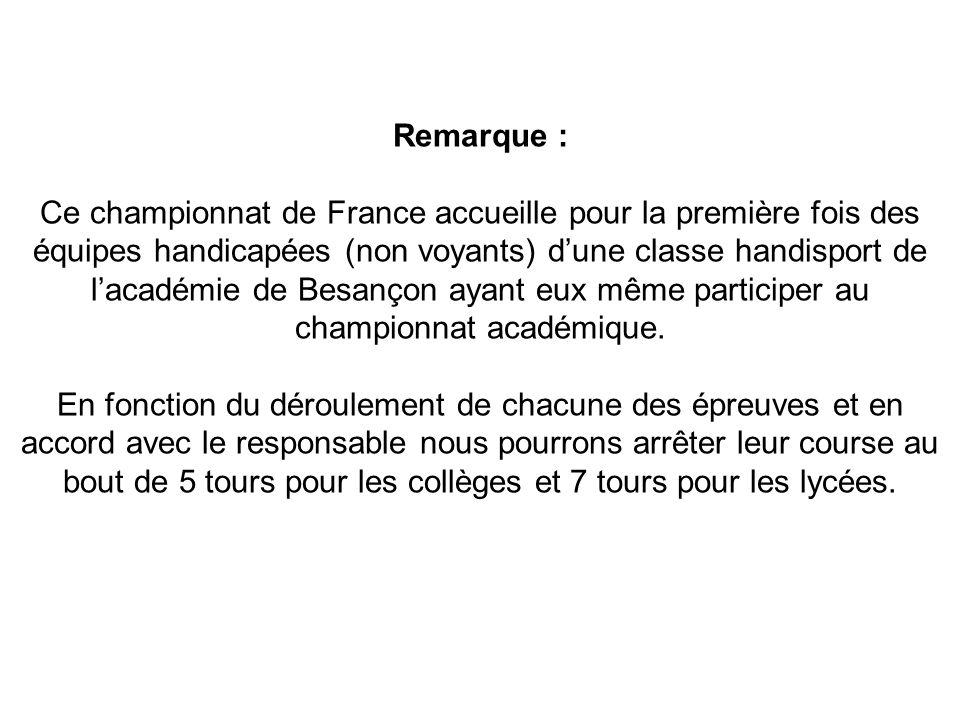 Remarque : Ce championnat de France accueille pour la première fois des équipes handicapées (non voyants) dune classe handisport de lacadémie de Besançon ayant eux même participer au championnat académique.