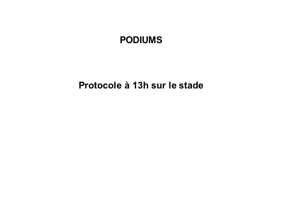 PODIUMS Protocole à 13h sur le stade