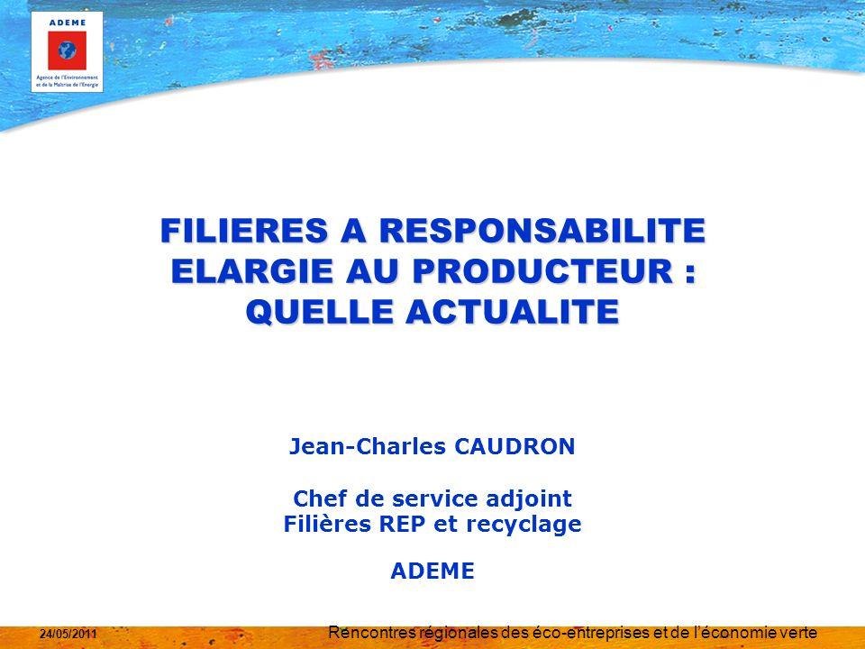 Rencontres régionales des éco-entreprises et de léconomie verte 24/05/2011 LA RESPONSABILITE ELARGIE DES PRODUCTEURS DEUX OBJECTIFS PRINCIPAUX TRANSFERER LA CHARGE DES COLLECTIVITES VERS LES METTEURS SUR LE MARCHE OU EN DAUTRES TERMES DU CONTRIBUABLE VERS LE CITOYEN PREVENIR LIMPACT DES PRODUITS EN FAISANT PRENDRE EN COMPTE PAR LES CONSTRUCTEURS DANS LA CONCEPTION LES CONTRAINTES DE LA GESTION DE LA FIN DE VIE DES PRODUITS UN OBJECTIF SECONDAIRE MAIS QUI PREND LA MÊME IMPORTANCE DEVELOPPER LE RECYCLAGE AU TRAVERS DOBJECTIFS A ATTEINDRE