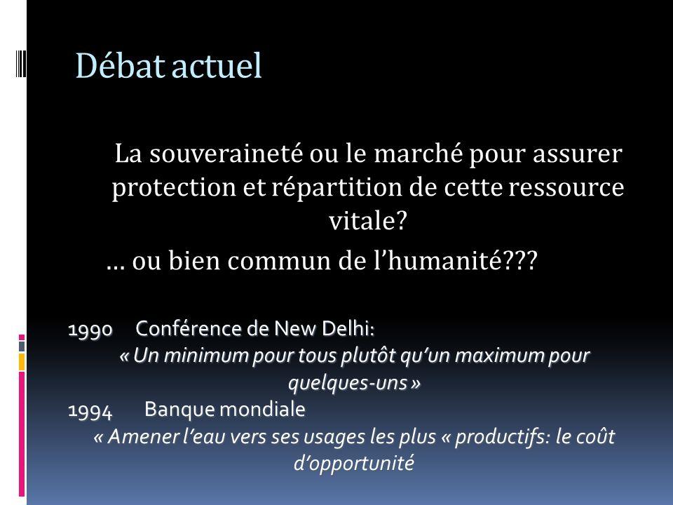 Débat actuel La souveraineté ou le marché pour assurer protection et répartition de cette ressource vitale? … ou bien commun de lhumanité??? 1990Confé