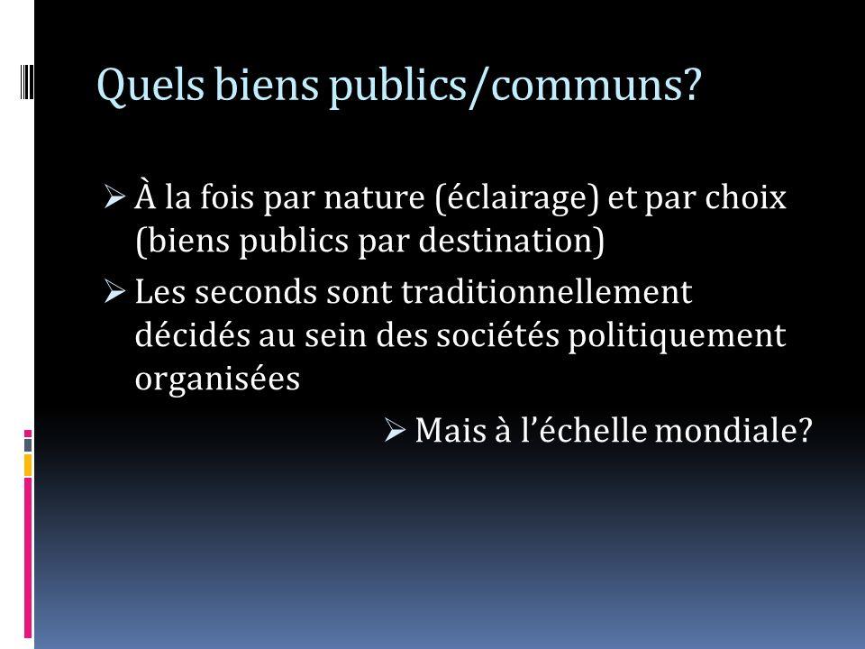 Quels biens publics/communs? À la fois par nature (éclairage) et par choix (biens publics par destination) Les seconds sont traditionnellement décidés