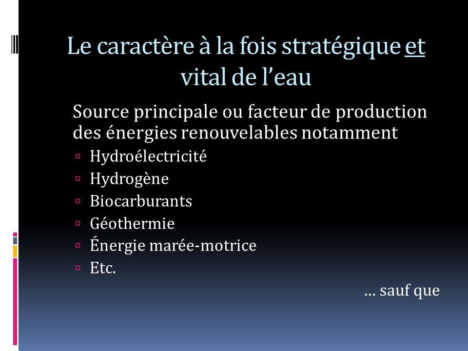 Le caractère à la fois stratégique et vital de leau Source principale ou facteur de production des énergies renouvelables notamment Hydroélectricité Hydrogène Biocarburants Géothermie Énergie marée-motrice Etc.