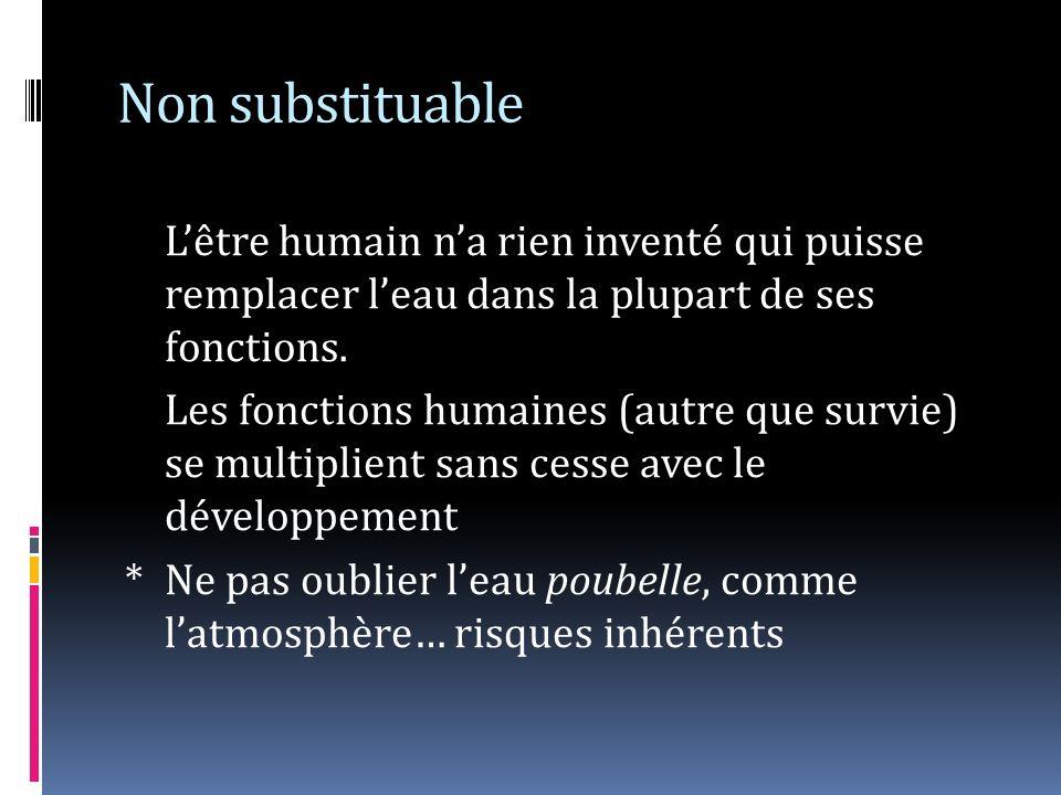 Non substituable Lêtre humain na rien inventé qui puisse remplacer leau dans la plupart de ses fonctions. Les fonctions humaines (autre que survie) se
