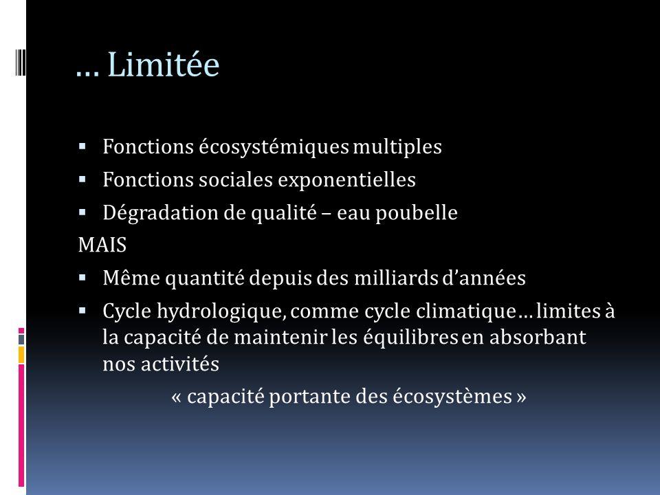 … Limitée Fonctions écosystémiques multiples Fonctions sociales exponentielles Dégradation de qualité – eau poubelle MAIS Même quantité depuis des mil