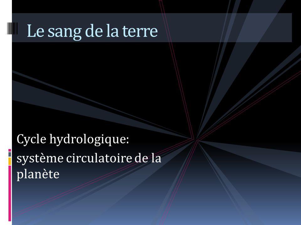 Cycle hydrologique: système circulatoire de la planète Le sang de la terre