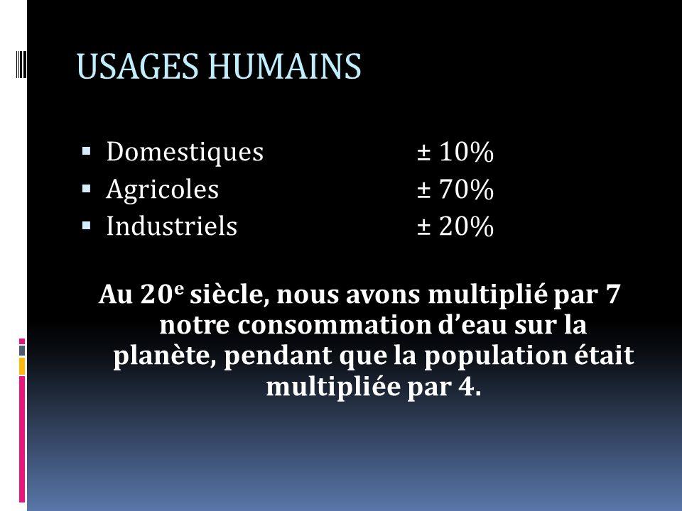 USAGES HUMAINS Domestiques± 10% Agricoles± 70% Industriels± 20% Au 20 e siècle, nous avons multiplié par 7 notre consommation deau sur la planète, pendant que la population était multipliée par 4.