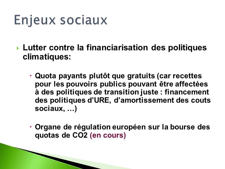 Lutter contre la financiarisation des politiques climatiques: Quota payants plutôt que gratuits (car recettes pour les pouvoirs publics pouvant être affectées à des politiques de transition juste : financement des politiques dURE, damortissement des couts sociaux, …) Organe de régulation européen sur la bourse des quotas de CO2 (en cours)