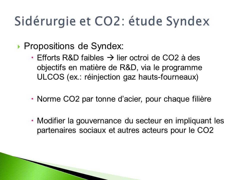Propositions de Syndex: Efforts R&D faibles lier octroi de CO2 à des objectifs en matière de R&D, via le programme ULCOS (ex.: réinjection gaz hauts-fourneaux) Norme CO2 par tonne dacier, pour chaque filière Modifier la gouvernance du secteur en impliquant les partenaires sociaux et autres acteurs pour le CO2