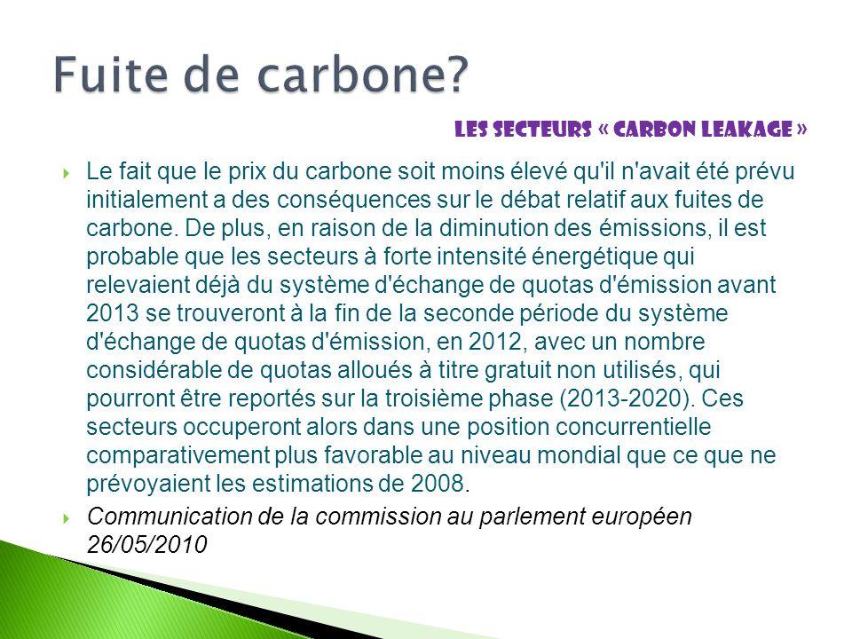 Le fait que le prix du carbone soit moins élevé qu il n avait été prévu initialement a des conséquences sur le débat relatif aux fuites de carbone.