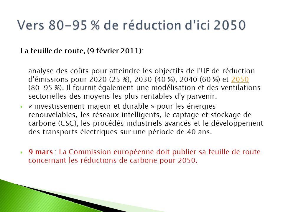 La feuille de route, (9 février 2011): analyse des coûts pour atteindre les objectifs de l UE de réduction d émissions pour 2020 (25 %), 2030 (40 %), 2040 (60 %) et 2050 (80-95 %).