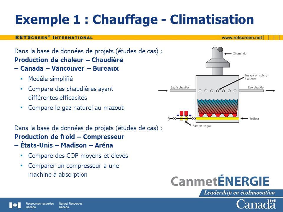 Exemple 1 : Chauffage - Climatisation Dans la base de données de projets (études de cas) : Production de chaleur – Chaudière – Canada – Vancouver – Bu