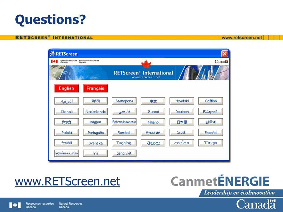 Questions? www.RETScreen.net