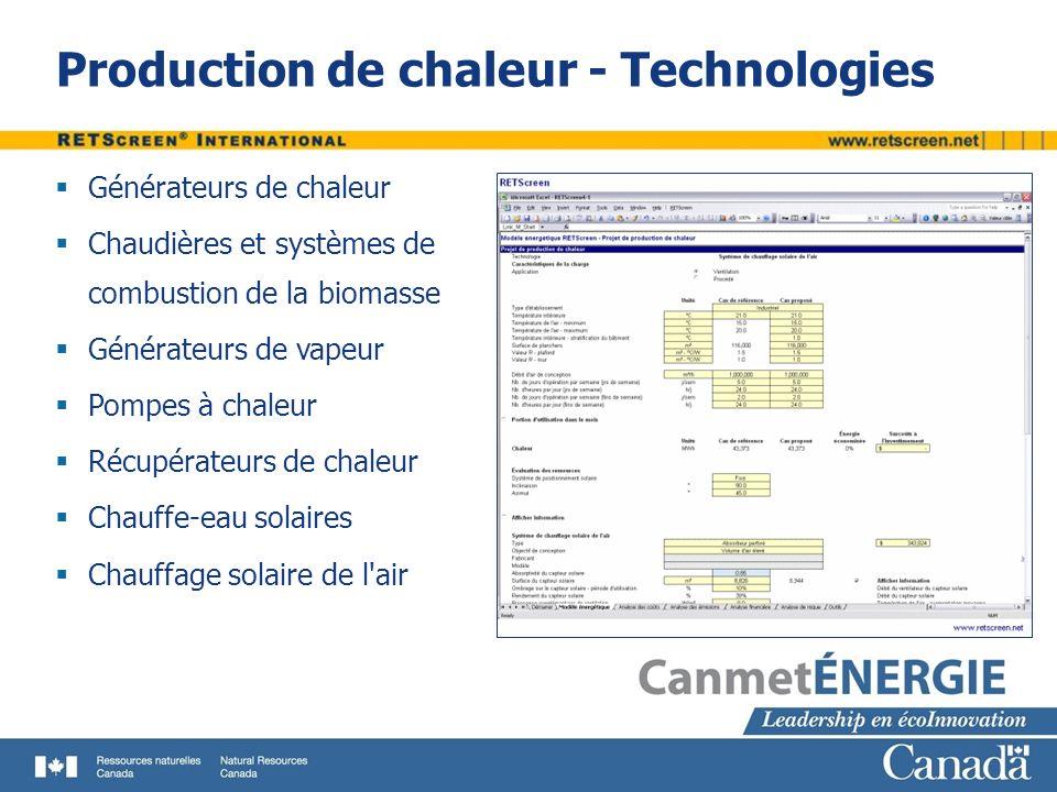 Production de chaleur - Technologies Générateurs de chaleur Chaudières et systèmes de combustion de la biomasse Générateurs de vapeur Pompes à chaleur