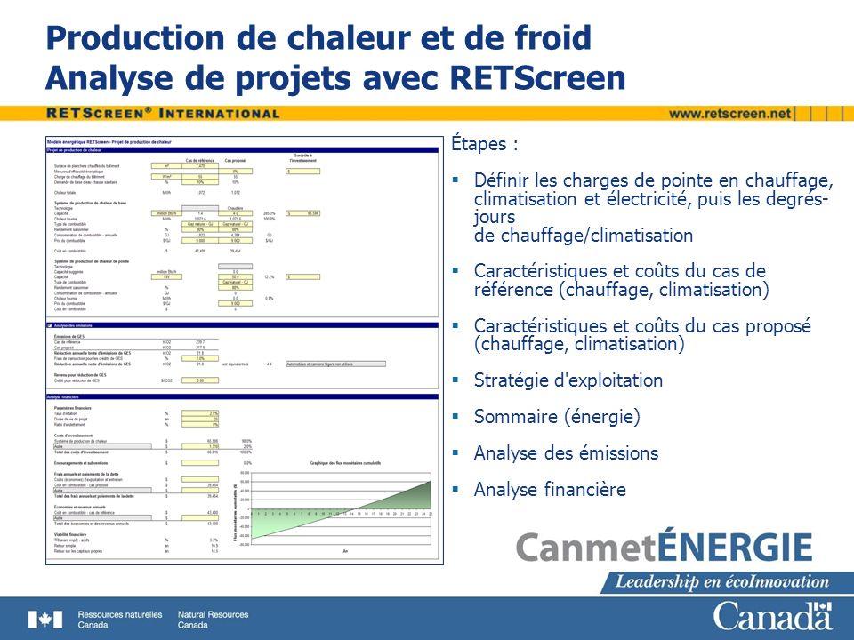 Production de chaleur et de froid Analyse de projets avec RETScreen Étapes : Définir les charges de pointe en chauffage, climatisation et électricité,