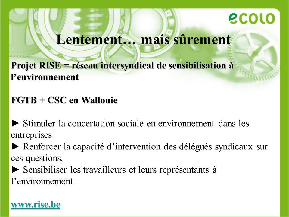 Lentement… mais sûrement Projet RISE = réseau intersyndical de sensibilisation à lenvironnement FGTB + CSC en Wallonie Stimuler la concertation social