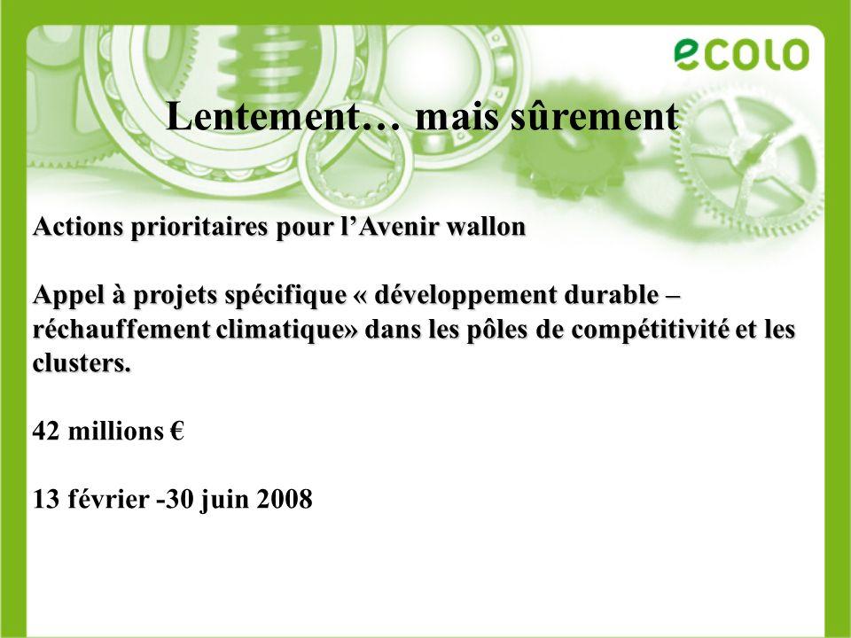 Lentement… mais sûrement Actions prioritaires pour lAvenir wallon Appel à projets spécifique « développement durable – réchauffement climatique» dans