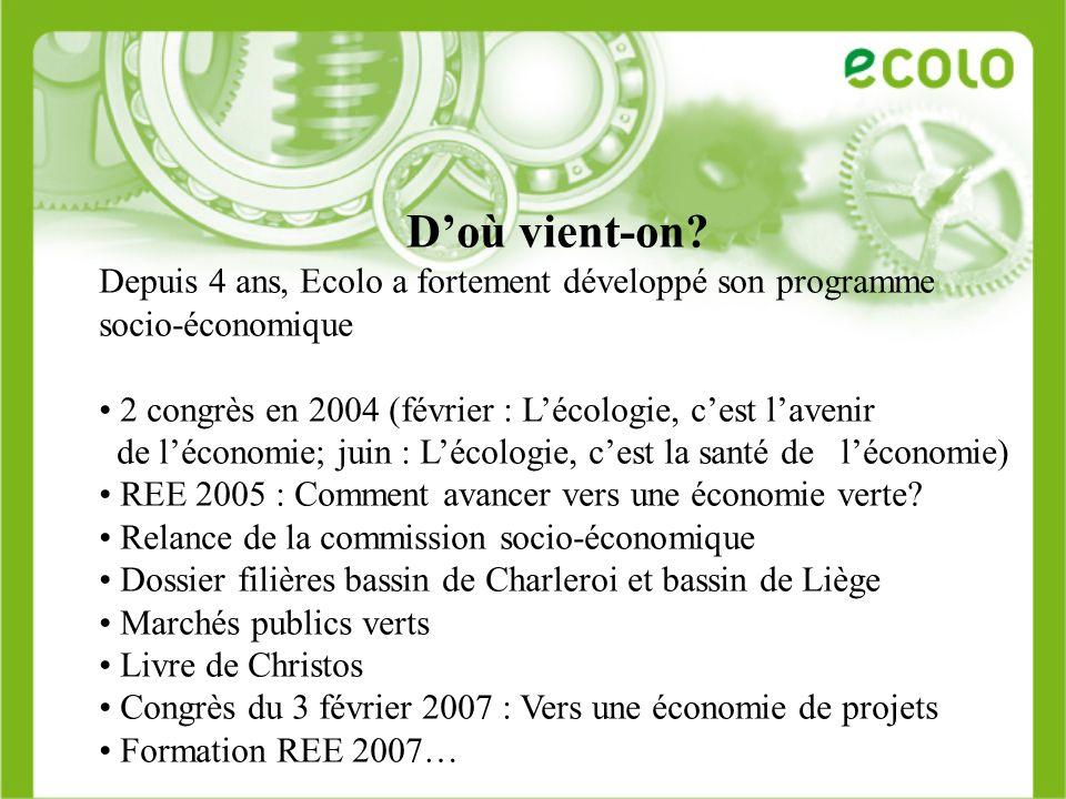 Doù vient-on? Depuis 4 ans, Ecolo a fortement développé son programme socio-économique 2 congrès en 2004 (février : Lécologie, cest lavenir de léconom