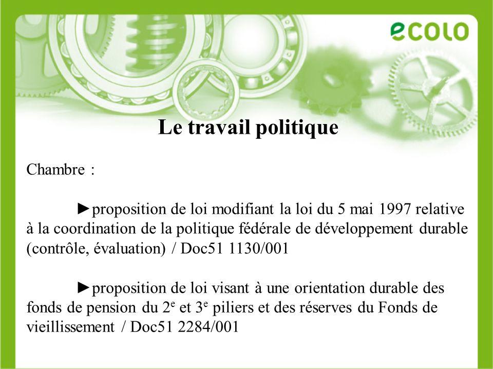 Le travail politique Chambre : proposition de loi modifiant la loi du 5 mai 1997 relative à la coordination de la politique fédérale de développement