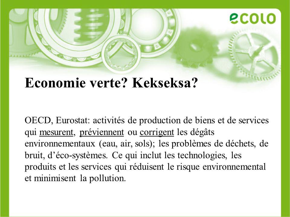Economie verte? Kekseksa? OECD, Eurostat: activités de production de biens et de services qui mesurent, préviennent ou corrigent les dégâts environnem