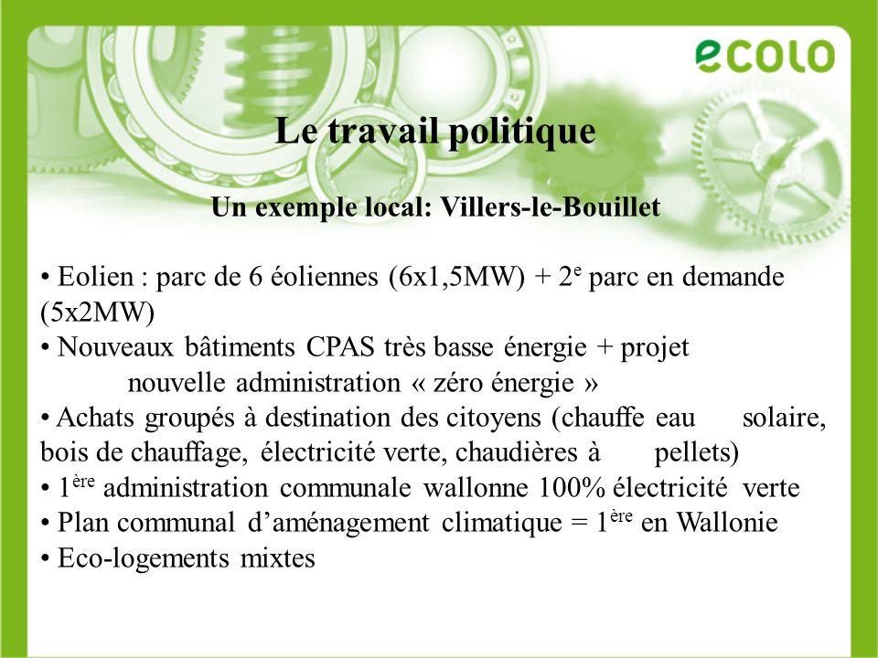 Le travail politique Un exemple local: Villers-le-Bouillet Eolien : parc de 6 éoliennes (6x1,5MW) + 2 e parc en demande (5x2MW) Nouveaux bâtiments CPA