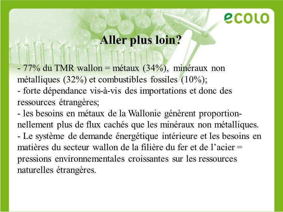 Aller plus loin? - 77% du TMR wallon = métaux (34%), minéraux non métalliques (32%) et combustibles fossiles (10%); - forte dépendance vis-à-vis des i