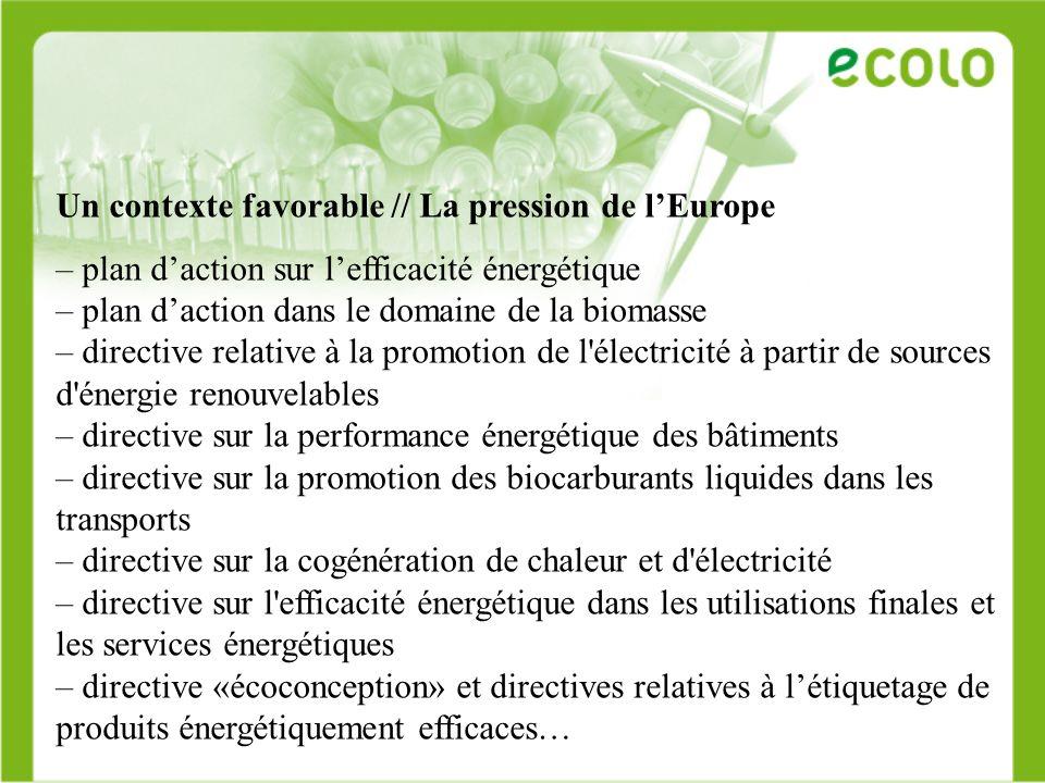 Un contexte favorable Ecotechnologies, environnement en 2006 = 3,4 millions travailleurs en Europe = 2,2% PIB Nouveaux investissements étrangers en 2006 = création de 40.000 emplois en Europe 1,5% emploi dici 2030 Nouveaux métiers = audit environnemental, audit énergétique, recyclage écologique des bâtiments…