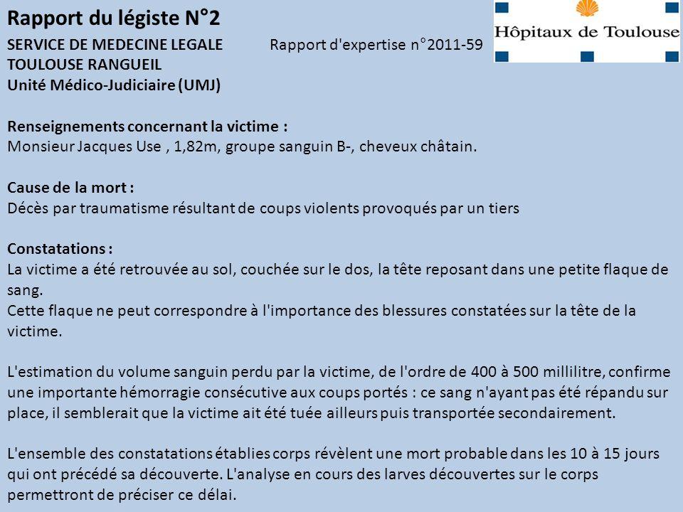 Les rapports: Rapport du légiste N°2