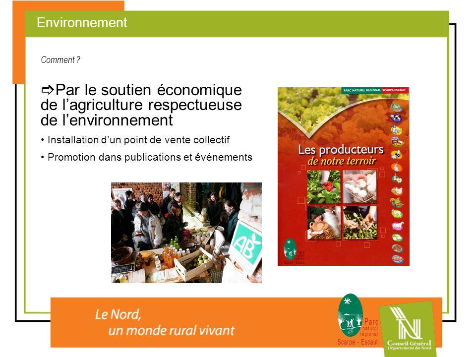 Par le soutien économique de lagriculture respectueuse de lenvironnement Installation dun point de vente collectif Promotion dans publications et évén