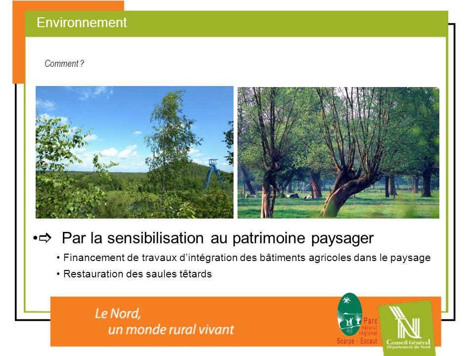 Par la sensibilisation au patrimoine paysager Financement de travaux dintégration des bâtiments agricoles dans le paysage Restauration des saules têta